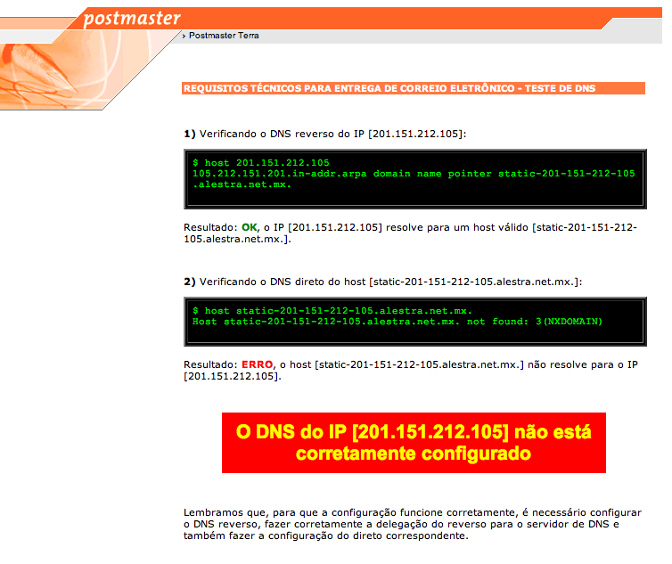 El reverso de tu IP no está configurado … ¿el qué?