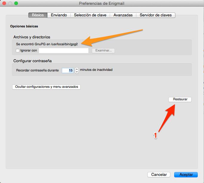 gpg2 con Enigmail en Mac OS X